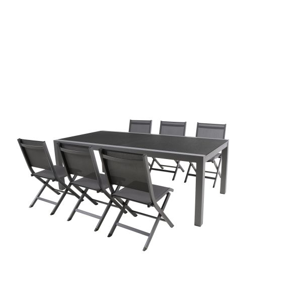 salon de jardin 1 table et 6 chaises pliantes de mwh. Black Bedroom Furniture Sets. Home Design Ideas
