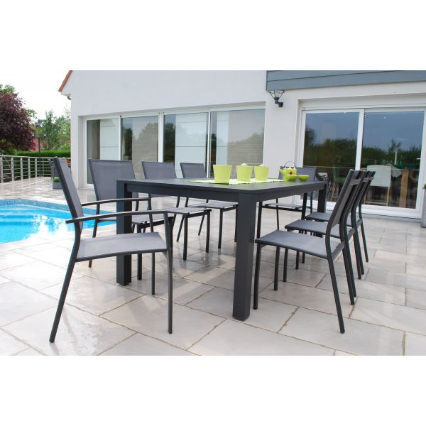salon de jardin 1 table 240 cm 6 chaises et 2 fauteuils. Black Bedroom Furniture Sets. Home Design Ideas